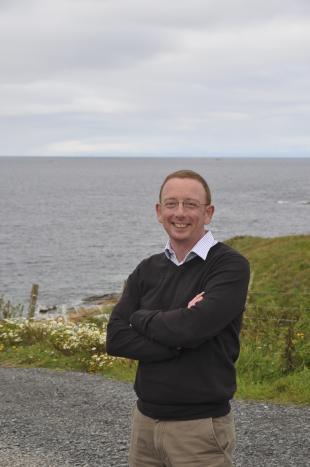 FloWave CEO Stuart Brown at EMEC's Billia Croo wave energy site